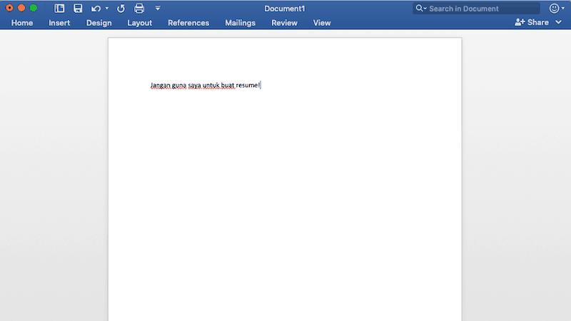 Buat resume guna microsoft word