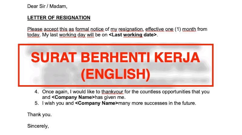 Contoh surat berhenti kerja English