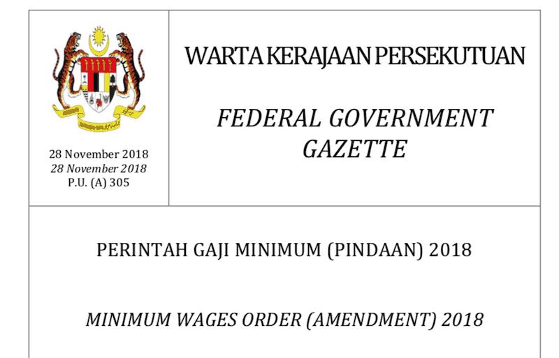 Gaji minimum Malaysia 2019