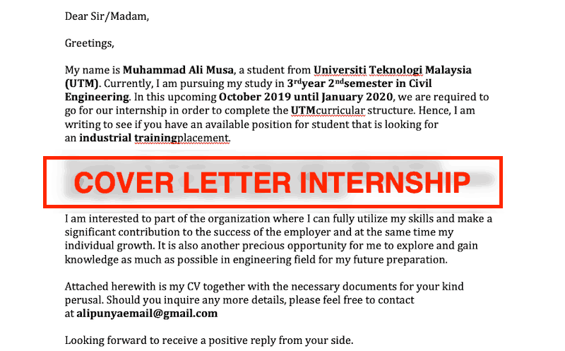 Contoh cover letter internship