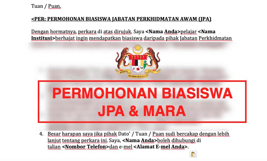 Contoh surat rasmi permohonan biasiswa JPA / MARA